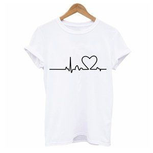 Heartbeat Graphic Tee White T Shirt L more like M
